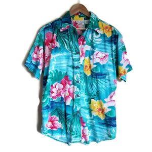 vintage 90's hawaiian button up shirt size 14